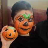 maquillaje infantil de calabaza hallowen