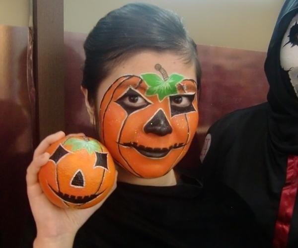Maquillaje de calabaza para Halloween Maquillajes10