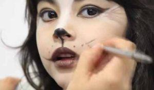 Maquillaje de gata para niña